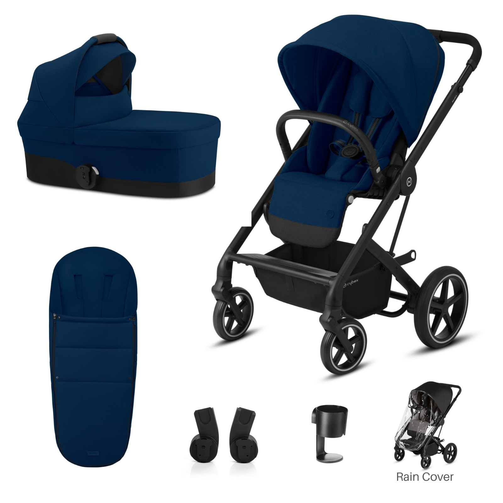 Cybex Balios S Lux Bundle 2 (Black Chassis) - Navy Blue