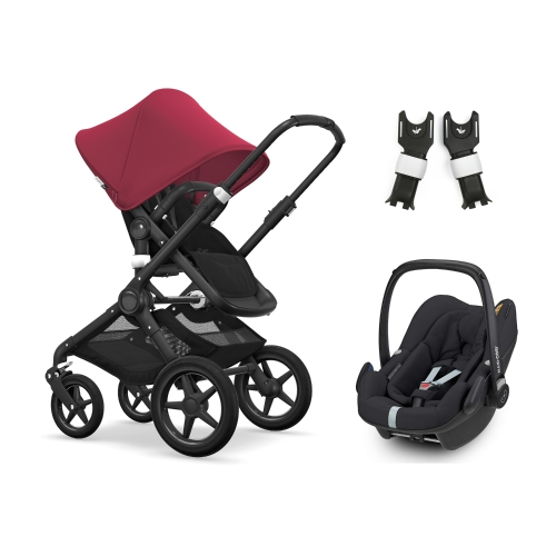 bugaboo-fox-black-with-maxicosi-pebble-plus-plus-ruby-red