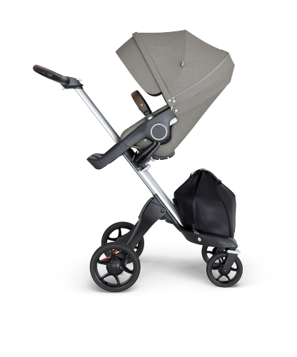 stokke-xplory-v6-silver-chassis-brown-handle-brushed-grey
